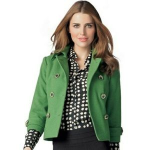 CAbi Green Wool Blend Double Breasted Pea Coat 6